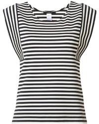 Blusa sin mangas de rayas horizontales en blanco y negro