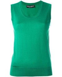 Blusa sin mangas de seda de punto verde de Dolce & Gabbana