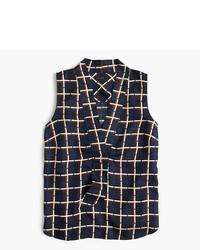 Blusa sin mangas de seda estampada negra de J.Crew