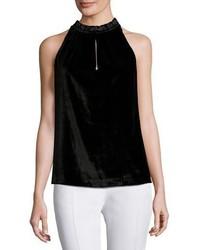 Blusa sin mangas de terciopelo negra