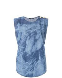 Blusa sin mangas efecto teñido anudado azul de Balmain