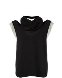 Blusa sin mangas en negro y blanco de Lanvin