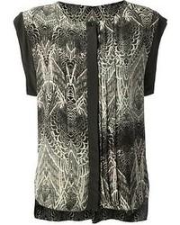 Blusa sin mangas estampada en negro y blanco