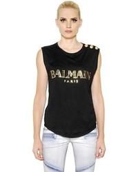 Blusa sin mangas estampada en negro y dorado de Balmain
