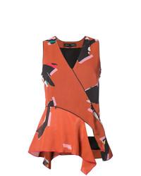 Blusa sin mangas estampada naranja de Proenza Schouler