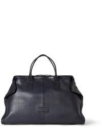 Bolsa de viaje de cuero azul marino de Alexander McQueen