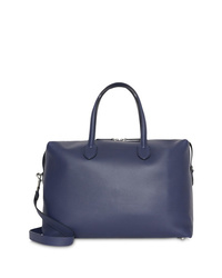 Bolsa de viaje de cuero azul marino de Burberry