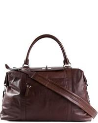 Bolsa de viaje de cuero en marrón oscuro de Brunello Cucinelli