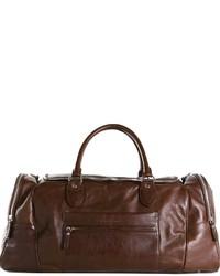 Bolsa de viaje de cuero marrón de Brunello Cucinelli