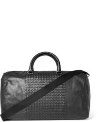 Bolsa de viaje de cuero negra de Bottega Veneta