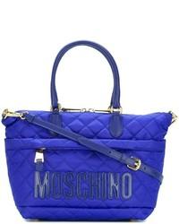 Bolsa tote de cuero acolchada azul de Moschino