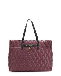 Bolsa tote de cuero acolchada morado oscuro de Givenchy