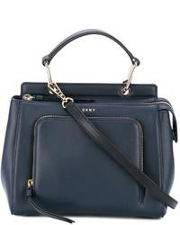 Bolsa tote de cuero azul marino de DKNY