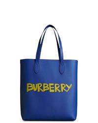 Bolsa Tote de Cuero Azul de Burberry
