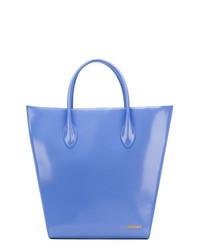 Bolsa tote de cuero azul de Jacquemus