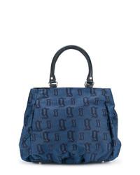 Bolsa tote de cuero azul de John Galliano