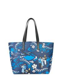 Bolsa tote de cuero azul de Michael Kors Collection