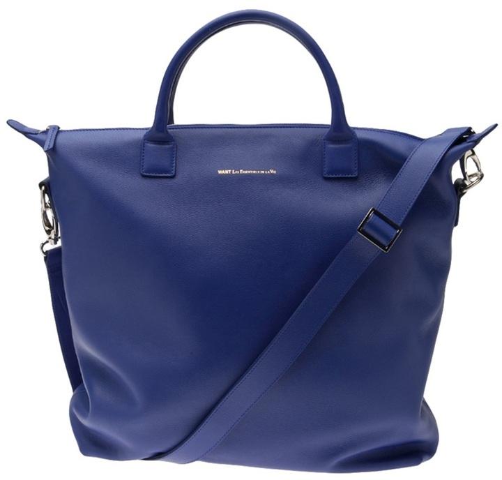 Bolsa tote de cuero azul de WANT Les Essentiels