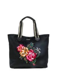 Bolsa tote de cuero con print de flores negra de Twin-Set