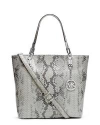 Bolsa tote de cuero con print de serpiente gris de MICHAEL Michael Kors