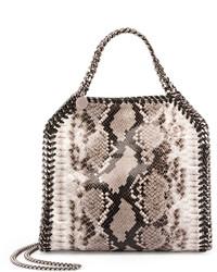Bolsa tote de cuero con print de serpiente gris de Stella McCartney