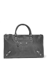 Bolsa tote de cuero con relieve en gris oscuro de Balenciaga
