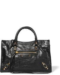Bolsa tote de cuero con relieve negra de Balenciaga