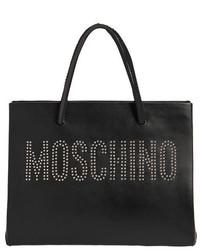 Bolsa tote de cuero con tachuelas negra de Moschino