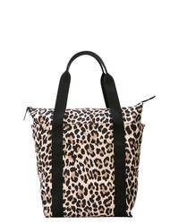 Bolsa tote de cuero de leopardo en negro y marrón claro de Kate Spade