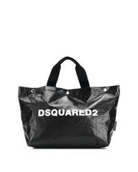Bolsa tote de cuero en negro y blanco de Dsquared2