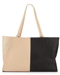 Bolsa tote de cuero en negro y marrón claro