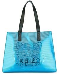 Bolsa tote de cuero en turquesa de Kenzo