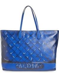 Bolsa tote de cuero estampada azul de Moschino