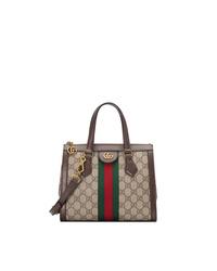 Bolsa tote de cuero estampada marrón de Gucci