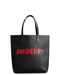 Bolsa tote de cuero estampada negra de Burberry