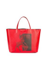 Bolsa tote de cuero estampada roja de Givenchy