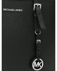 Bolsa tote de cuero negra de Michael Kors
