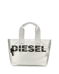 Bolsa tote de cuero plateada de Diesel
