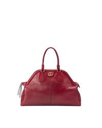 Bolsa tote de cuero roja de Gucci