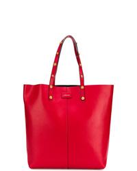 Bolsa tote de cuero roja de Versace