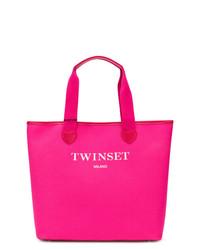 Bolsa tote de cuero rosa de Twin-Set