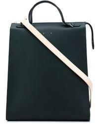 Bolsa tote de cuero verde oscuro de Pb 0110