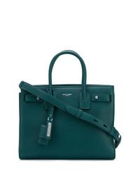 Bolsa tote de cuero verde oscuro de Saint Laurent