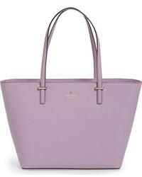 Bolsa tote de cuero violeta claro de Kate Spade