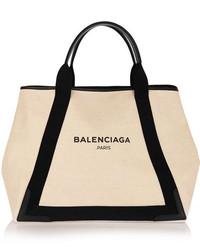 Bolsa tote de lona estampada en beige de Balenciaga