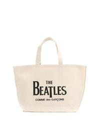 Bolsa tote de lona estampada en beige de The Beatles X Comme Des Garçons