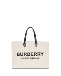Bolsa tote de lona estampada en blanco y negro de Burberry