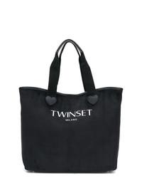 Bolsa tote de lona estampada en negro y blanco de Twin-Set