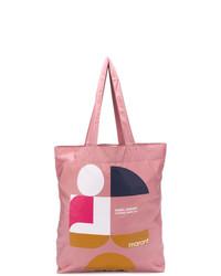Bolsa tote de lona estampada rosada de Isabel Marant