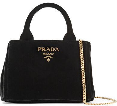 Bolsa tote de terciopelo negra de Prada  dónde comprar y cómo combinar 946bad16a1